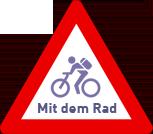 Schild Mit dem Rad